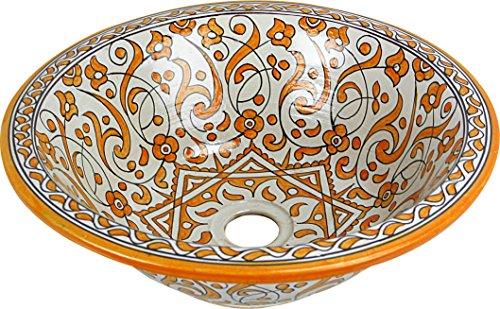 Orientalisches handbemaltes Keramik Waschbecken - Marrakesch Gelb Keramik - Gemalt innen heraus Di 40 H 16 cm (Waschbecken Gelb)
