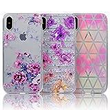 3x Custodia per iPhone X, Cover Silicone Morbido Trasparente - Sunroyal Case TPU Gel Ultra Sottile Cassa Protettiva Design per iPhone X (5,8 pollici) (Peonia rosa + crisantemo + triangolo colorato) immagine