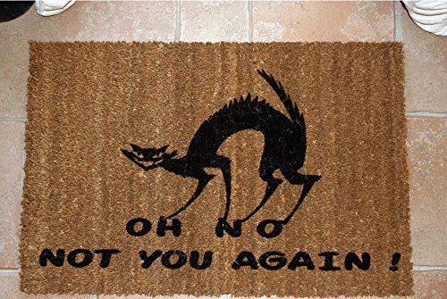 ZERBINO DESIGN OH NO NOT YOU AGAIN GATTO CM. 100x50 COCCO NATURALE SPAZZOLA ASCIUGA SPORCO