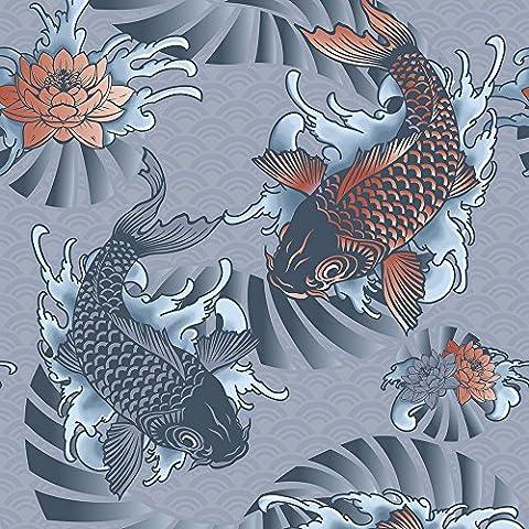 murando Vlies Tapete - Deko Panel Fototapete - Wandtapete - Wand Deko - 10 m Tapetenrolle - Mustertapete - Wandtapete - modern design - Dekoration - Asien Koi