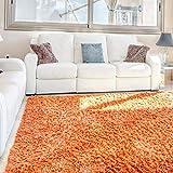 Keymura Basic Shaggy – Flauschiger Hochflor Teppich Orange für Wohnzimmer, Kinderzimmer und Schlafzimmer in 80X150 cm