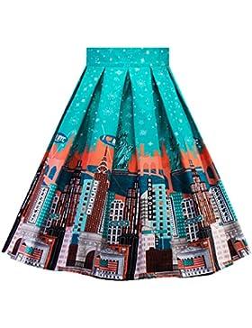 YAANCUNN Mujer Faldas Plisadas Fiesta Coctel Estampadas Elegantes Vintage Años 50 Etnicas Altas De Cintura Una...