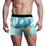 JIRT Slip Boxer da Uomo Moon Night Dandelion Happy Dog Underwear Maschile Traspirante bauli Elasticizzati Bulge Pouch Soft Mu