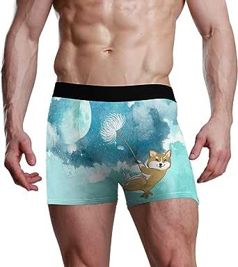 JIRT Slip Boxer da Uomo Moon Night Dandelion Happy Dog Underwear Maschile Traspirante bauli Elasticizzati Bulge Pouch Soft Mutande
