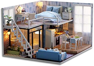 Brinny DIY Doll House Wooden Doll Houses Miniature Dollhouse Furniture Kit Toys for Children Christmas Gift