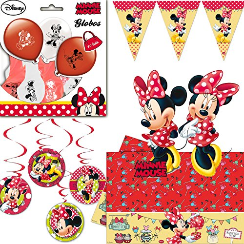 * MINNIE MOUSE * für Kindergeburtstag mit Hängedeko + Tischdecke + Wimpelkette + große Wandschilder + Luftballons + Luftschlangen // Mickey Disney Mädchen (Minnie Maus 1 Geburtstag Party)