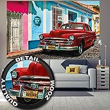 Decoración imagen mural antigua's rojos autos de Cuba Habana acervo mundial Habana Viejo Ciudad de Che Guevara I foto-mural foto póster deco pared by GREAT ART (210 x 140 cm)