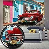 Fototapete Cuba Wandbild Dekoration Kuba Oldtimer Auto Havanna Weltkulturerbe Red Car La Habana Vieja Stadt Che Guevara | Foto-Tapete Wandtapete Fotoposter Wanddeko by GREAT ART (210 x 140 cm)