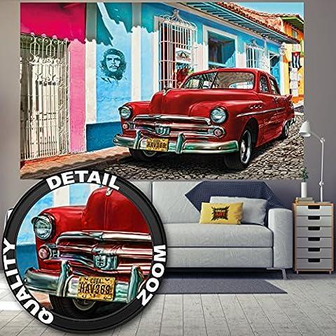 Old-timer in Havana Cuba photo wallpaper by GREAT ART Poster XXL Wall Decoration 210 cm x 140 cm