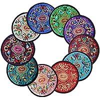 icegrey Handmade Ethnic ricamo Pattern sottobicchieri tovagliette, confezione da 10pezzi/set