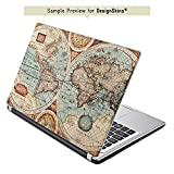Acer Aspire E15 E5-571 Aufkleber Schutz Folie Design Sticker Skin Vintage Weltkarte Karte Map