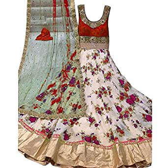 Latests Fashion Women's Net And Printed Dress Material (LF535_red)