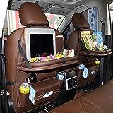 Godea Organizador de Asiento Trasero de Coche con Botellas de Juguete para niños, Mesa de Comedor Plegable, 8 Compartimentos, Incluye Soporte para iPad