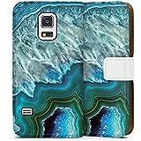 Samsung Galaxy S5 mini Flip Tasche Schutz Hülle Walletcase Bookstyle Kristall Edelstein Blau