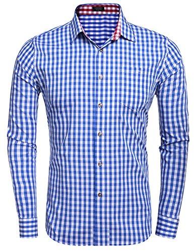 Coofandy Herren Hemd Kariert Cargohemd Trachtenhemd Baumwolle Freizeit Regular Fit (XX-Large, Blau und weiß)