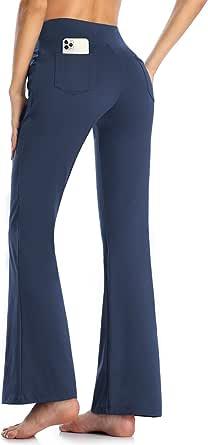 MOVE BEYOND Donna Pantaloni e Pinocchietti Bootleg da Yoga con 4 Tasche a Vita Alta Controllo di Pancia