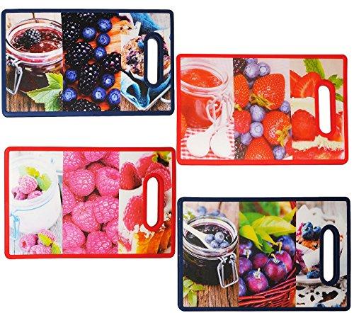 """2 Stück _ Schneidebretter / Topfuntersetzer / Frühstücksbretter - """" Früchte & Marmeladen Gläser """" - aus hitzebeständigen Kunststoff - Frühstücksbrettchen / Platzdeckchen für Kinder & Erwachsene - Eßunterlage Küchenhelfer - Pfannenuntersetzer / Untersetzer / Unterlage Topf - Tischunterlage"""