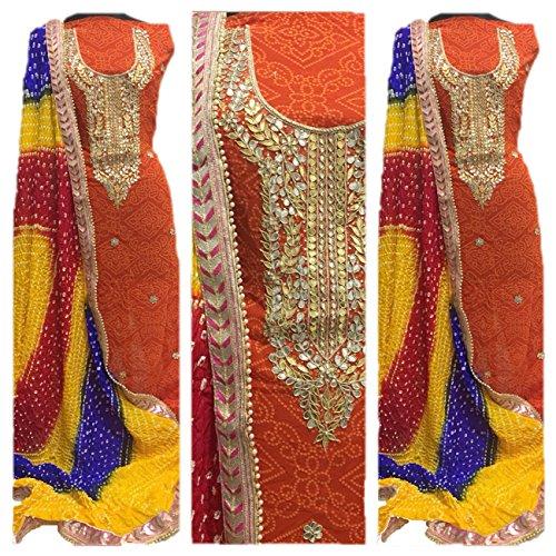 K.K.Sales Women Georgette Jaipuri Gota Patti Border Work Kurti with Dupatta (JBL-649_Orange_Free...