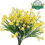 HOONAO 4 piezas artificiales de flores artificiales, de plástico sintético, arbustos para plantas...