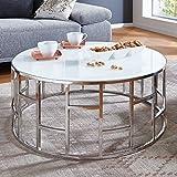 Moebella® Designer Glas-Tisch Couchtisch mit Weißglas Alegra Rund Edelstahl Wohnzimmertisch Luxus (Glas Weiß)
