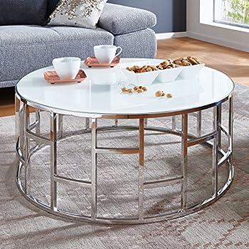 Moebella Designer Glas-Tisch Couchtisch mit Weißglas