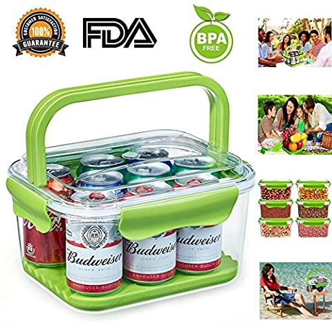 Food Containers, Fruit Containers Portable 2 in 1 Storage Containers with handles and Removable Ice Pack, 100% BPA Free, Airtight, Leak Proof for Keeping Food, Fruit, Drinks, Kitchen Staples, iPhone, Camera, iPad, Cigarette, Wallet and more, for Home Kitchen or Outdoor Travel Use, Plastic (6L, Green)