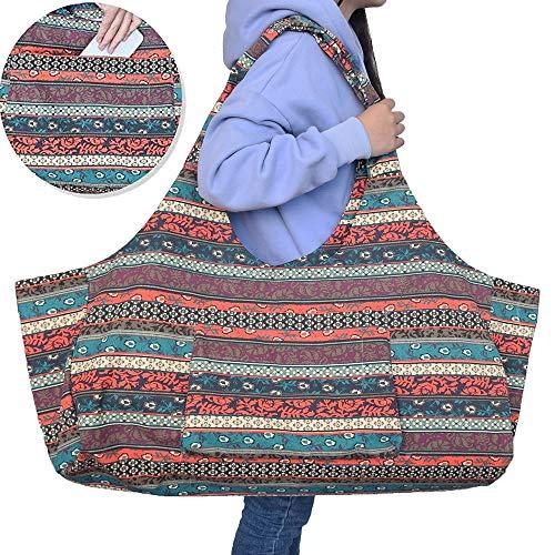 Extra Große Yoga-Tasche, Leinwand Mit Seitentasche Multifunktionsaufbewahrungstasche Kann Yoga-Matte Yoga Rad Handtuch Geldbeutel Handy für Fitness Sporttasche Speichern