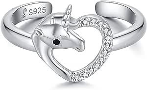 Qings Anelli Unicorno Regolabili Anello Cuore Argento 925 con Zircone per Donna e Ragazza, Piccoli Regali Dopo la Festa di Compleanno per Bambini