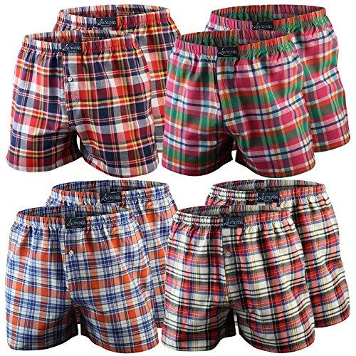 4er   8er   12er Pack Karo Herren Boxershorts Baumwolle gewebt, 2 Farbvarianten Qualität von Lavazio® 8er Pack - Farbe 2