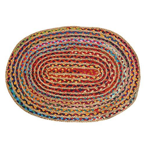 RAJRANG BRINGING RAJASTHAN TO YOU Alfombra Ovalada - Trenzada con Una Mezcla de Algodón y Yute - 91x60 cm Artículo Decorativo para el Hogar