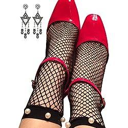 Semia Mujer Moda Mallas Caladas Medias Fishnet Tobillo Cortos Calcetines Perla Negro Talla única