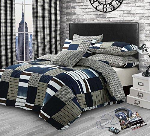 Flickwerk Kariert Denim Druck Baumwollmischung Doppel (Uni Silbergrau Passendes Leintuch - 137 X 191cm + 25) 4 Teile Bettwäsche Set (Und Braun Tröster Blau)