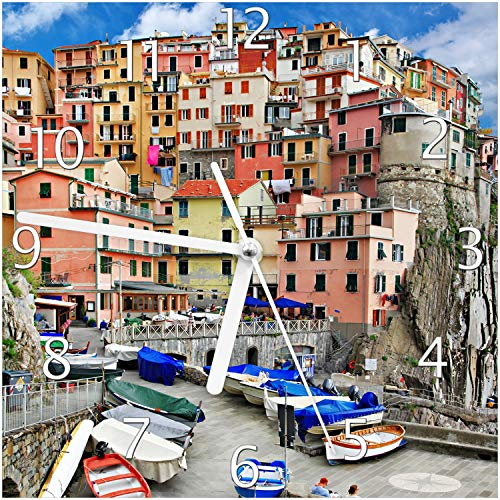 Wallario Glas-Uhr Echtglas Wanduhr Motivuhr; in Premium-Qualität; Größe: 20x20cm; Motiv: Bunter Hafen in Italien
