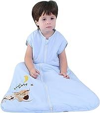 schlafsack baby winter mädchen junge Baumwolle neugeboren schlafanzug Eule blau - Ganzjährig Kinderschlafsack 2.5 tog