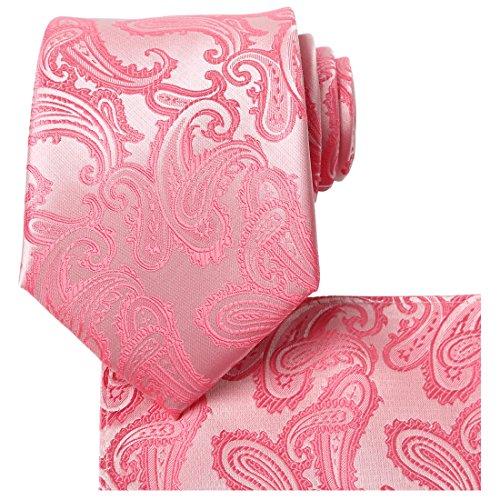 Kissties Herren Set, Paisley Einheitsgröße Gr. Einheitsgröße, Rosy Pink Mens Dress Shirt Blush