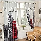 3D britischen Stil Zimmer Darkening Vorhänge für Wohnzimmer Schlafzimmer mit London Buchstaben 2 x 260x140 cm