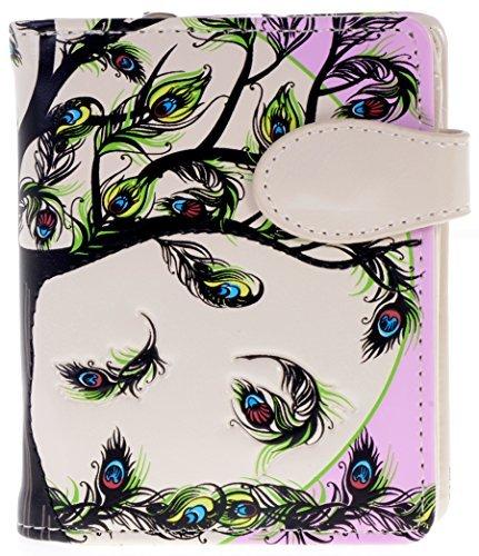 ne Geldbörse mit Reißverschluss Tasche Baum des Lebens Federn weiß ()