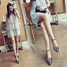 SHOESHAOGE Sandalias Temporada Traspasado Con Finos Baotou Zapatos De Mujer Una Palabra Hebilla Cinturón Y Sandalias Chica Verano Romano Eu33