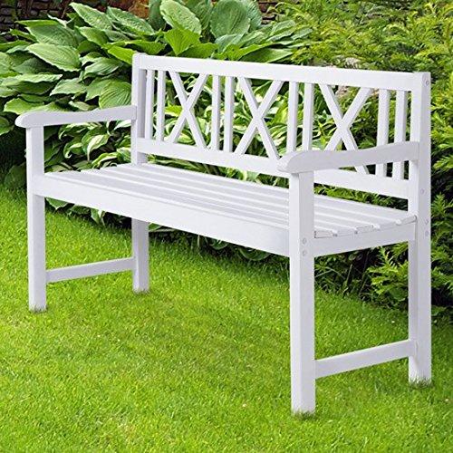 Miadomodo–Gartenbank weiß aus Fichtenholz - 5