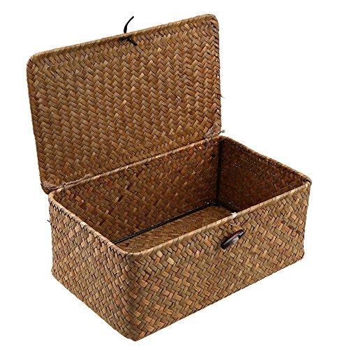 WCIC Aufbewahrungsbox, Aufbewahrungskiste Deko Boxen Kästen Möbel Wohnaccessoires Aufbewahrungsboxen Seegras Körbe Mittlere Größe 26cmX16cmX10cm (Seegras-boxen)