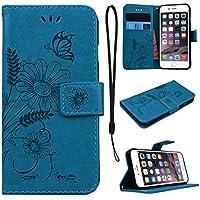 CE-Link für iPhone 6S Hülle, iPhone 6 Handyhülle Hülle Ledertasche Schutzhülle Leder Huelle mit Blau Schmetterling... preisvergleich bei billige-tabletten.eu