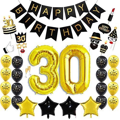 30. Geburtstag Party Dekoration Kit 30. Gold Anzahl Ballons alles Gute zum Geburtstag Banner Sparkly Photo Booth Requisiten Gold und Schwarz Latex - 30. Supplies Geburtstag Party Kit