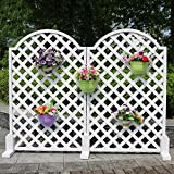 Flower Stand PHTW HTZ Antike Holz Zaun weiße Massivholz Bildschirme abgeschnitten der Raster Steigen Rattan Rahmen Blume Rahmen Gartenzaun + (größe : Round White 90 * 110)