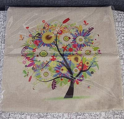 18''X 18'' Pastoral Style Tree of Life Cotton Linen Decorative Throw Pillow Cover Cushion Case (Colorful) - low-cost UK light shop.
