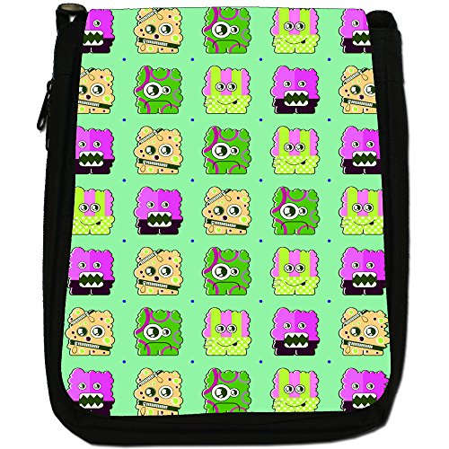 & Bear Monsters-Borsa a tracolla in tela, colore: nero, taglia: M Nero (Green Sponge Monsters)