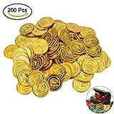 YoungRich 200 Pezzi Monete di Oro del Pirata Plastica Giocattolo bambino Halloween Monete di Tesoro Treasure Coins per Treasure Hunting Gioco Decorazione Del Partito Regalo 3.5 cm Diametro Oro