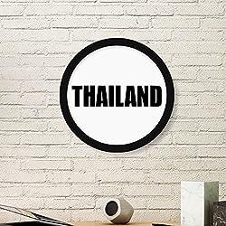 DIYthinker Pintura Tailandia País Nombre del Arte de la Foto del Cuadro Redondo de Madera del hogar del Marco Regalo decoración de la Pared Pequeña Negro