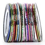 TRIXES 30 rocchetti con strisce adesive per la nail art in colori assortiti, per unghie naturali e finte.