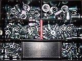 Blindnietmuttern Sortiment 180 Teile Stahl verzinkt Flachkopf gerändelt Nietmuttern