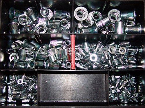 Preisvergleich Produktbild Blindnietmuttern Sortiment 180 Teile Stahl verzinkt Flachkopf gerändelt Nietmuttern